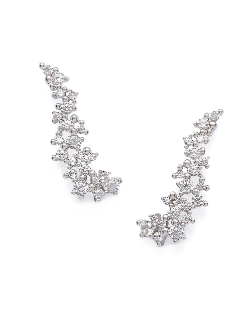 Petunia Silver Ear Climber Earrings in White Crystal