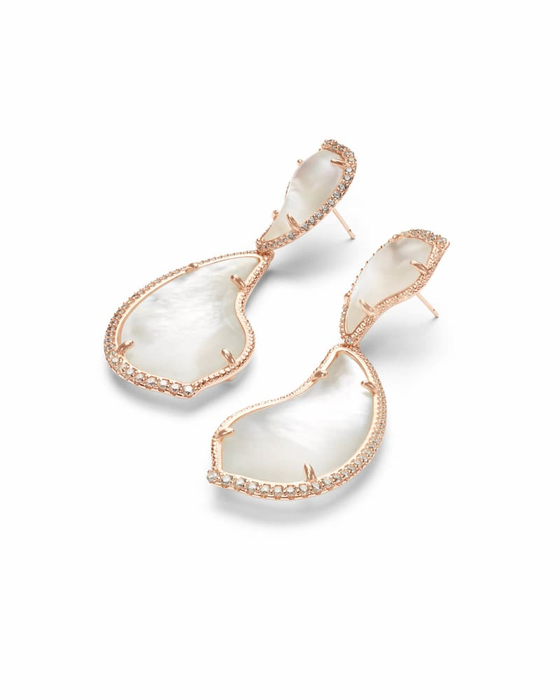 Teddi Rose Gold Statement Earrings in Ivory Pearl