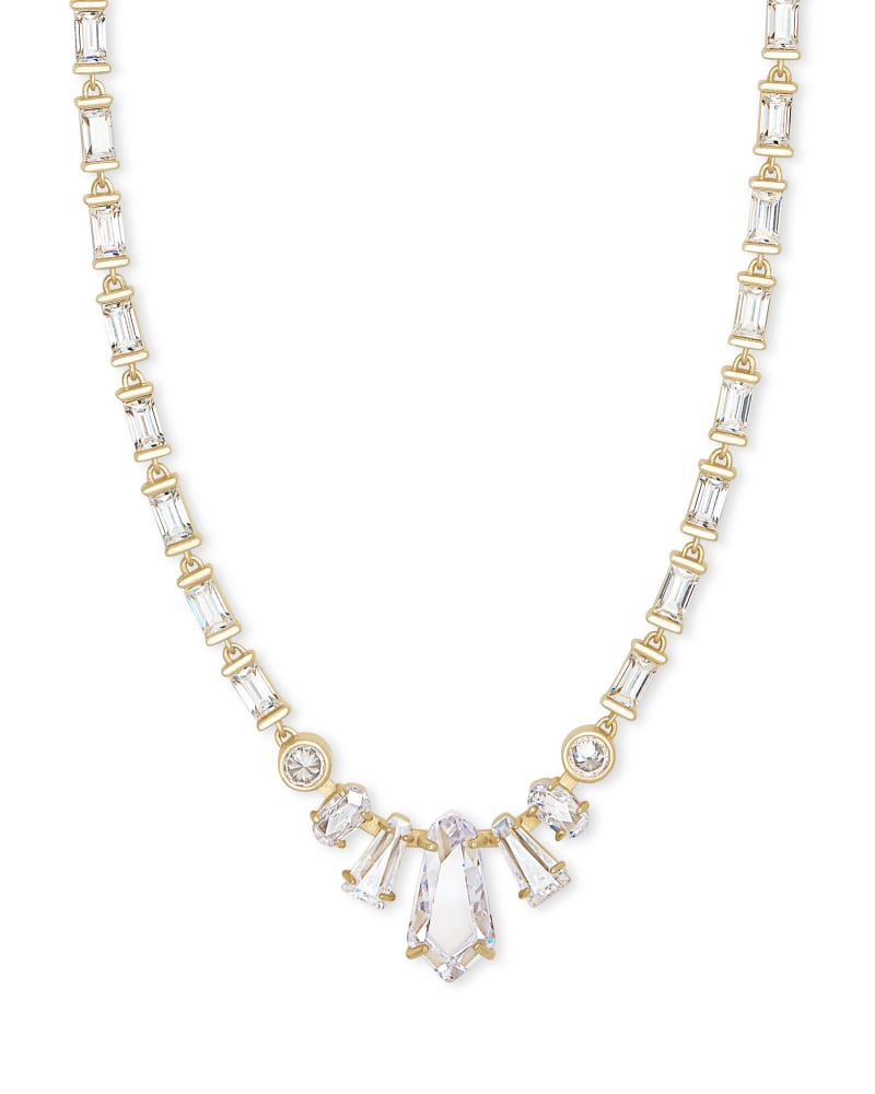 Christianne Gold Collar Necklace in Lustre Glass
