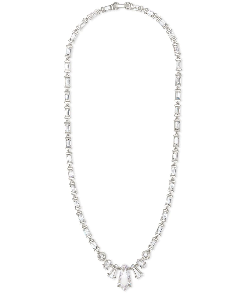 Christianne Silver Collar Necklace in Lustre Glass