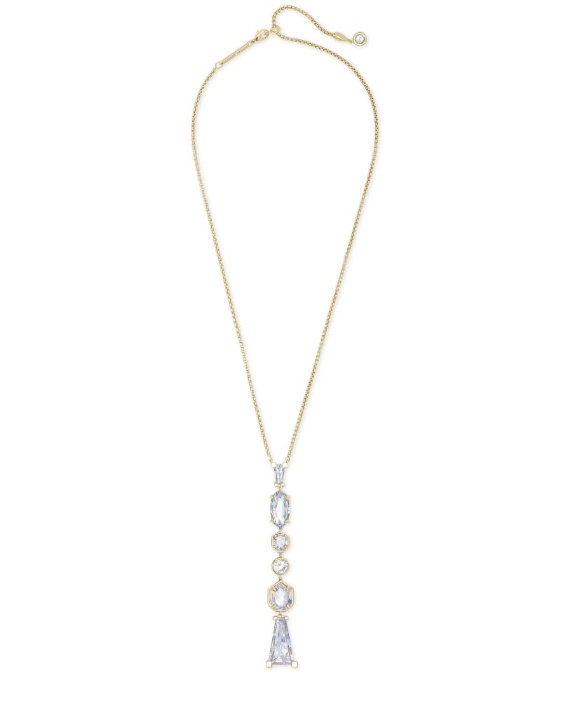 Gracelynn Gold Y Necklace in Lustre Glass