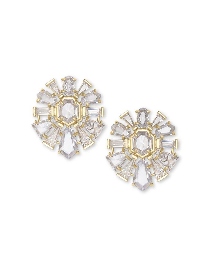 Jentry Gold Stud Earrings in Lustre Glass   Kendra Scott