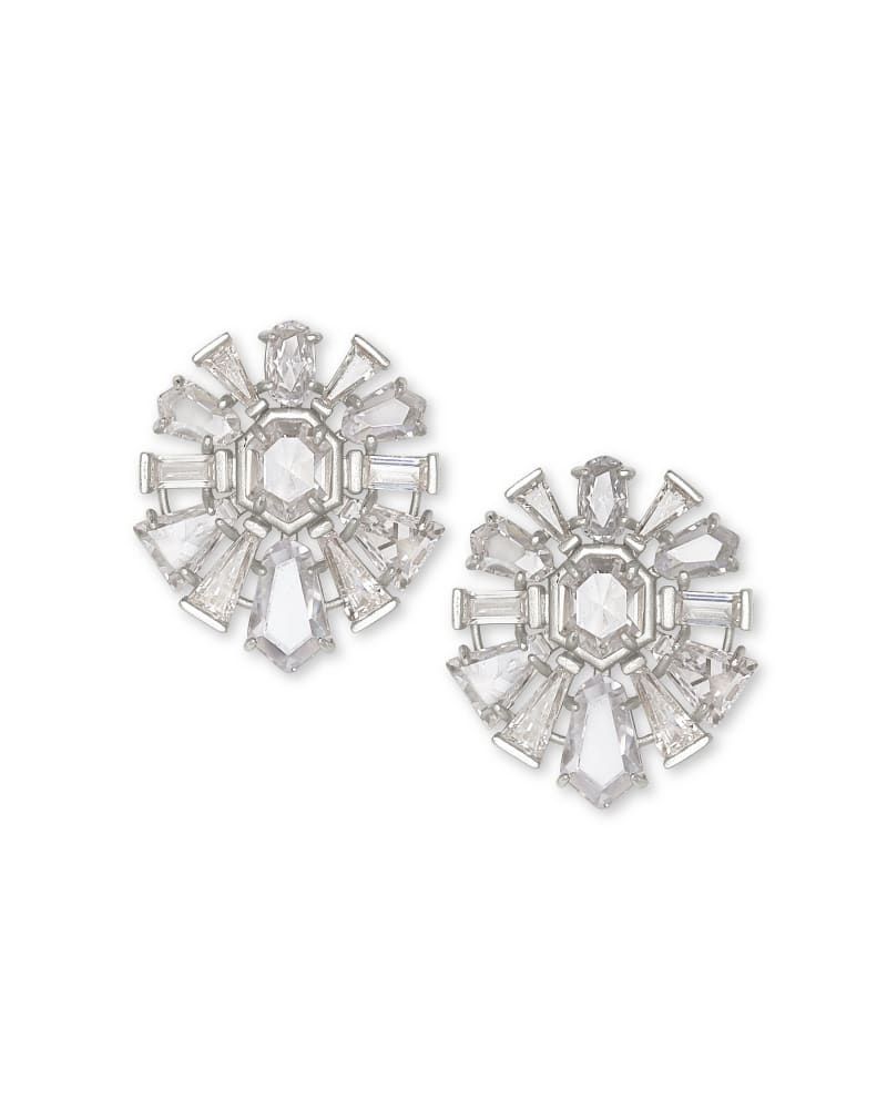 Jentry Silver Stud Earrings in Lustre Glass