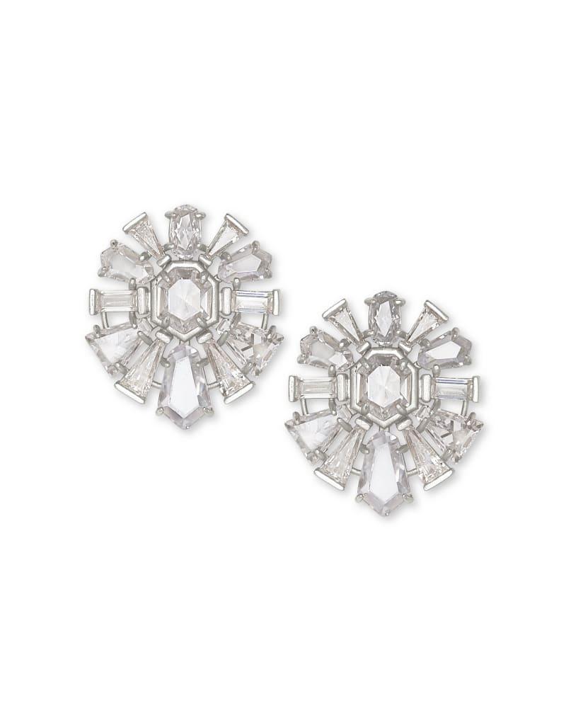 Jentry Silver Stud Earrings in Lustre Glass   Kendra Scott
