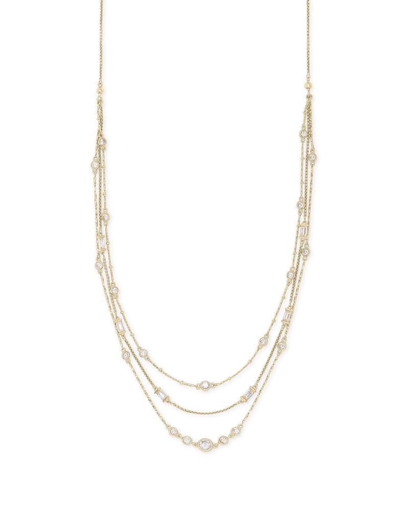 Rina Gold Multi Strand Necklace in Lustre Glass