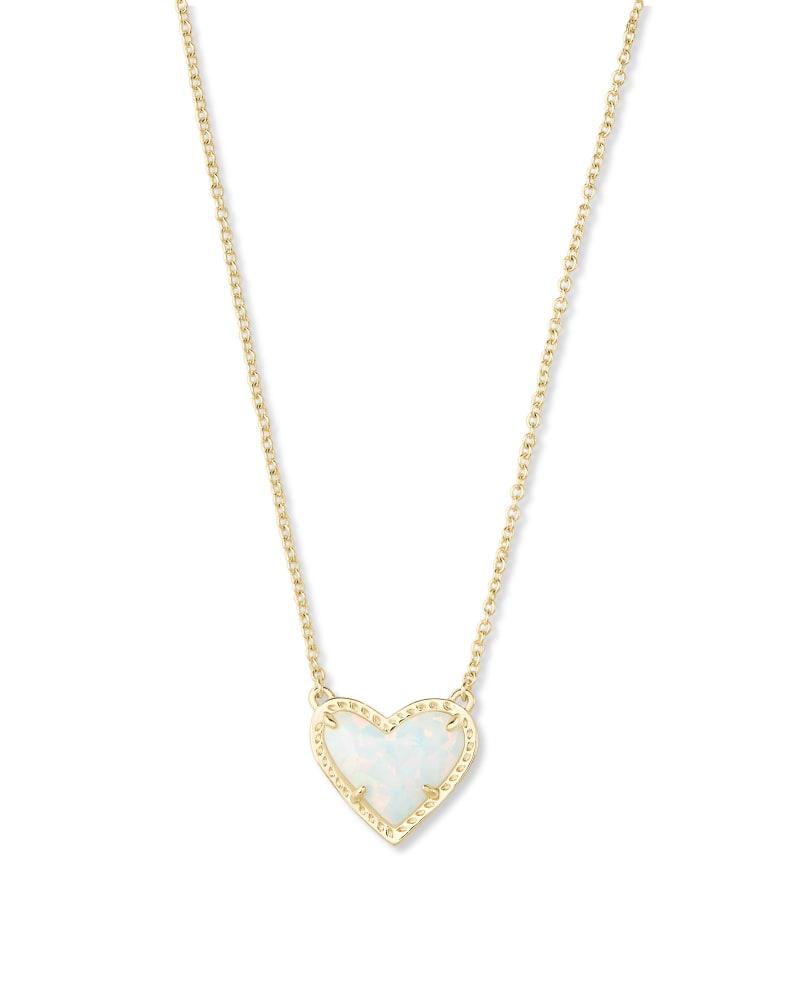 Ari Heart Gold Pendant Necklace in White Kyocera Opal | Kendra Scott