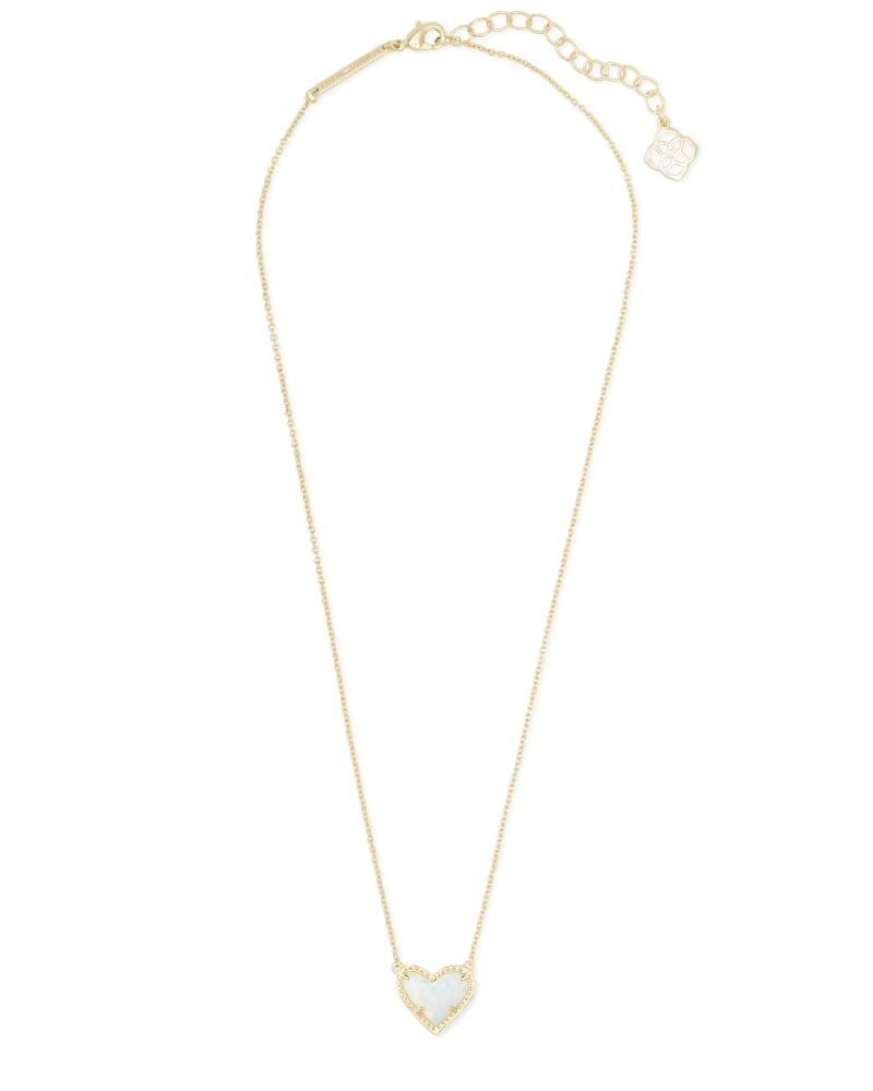Ari Heart Gold Pendant Necklace in White Kyocera Opal