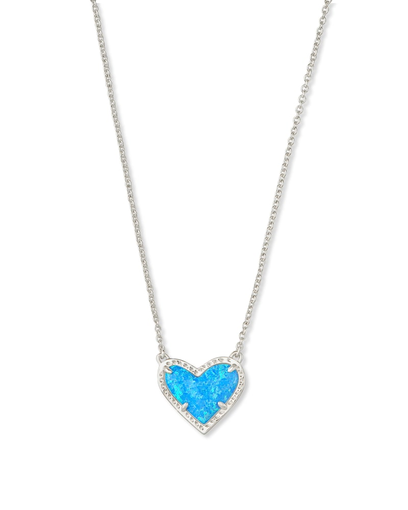 Ari Heart Silver Pendant Necklace in Ocean Kyocera Opal