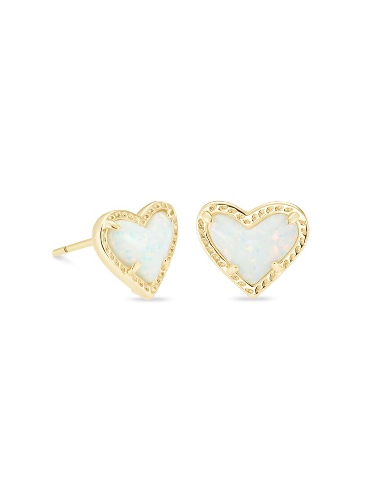 Ari Heart Gold Stud Earrings in White Kyocera Opal