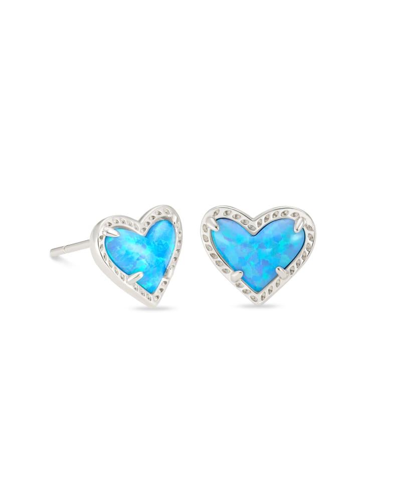 Ari Heart Silver Stud Earrings in Ocean Kyocera Opal