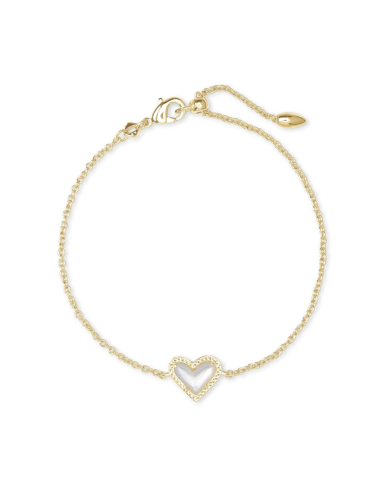 Ari Heart Gold Chain Bracelet in Ivory Mother-of-Pearl