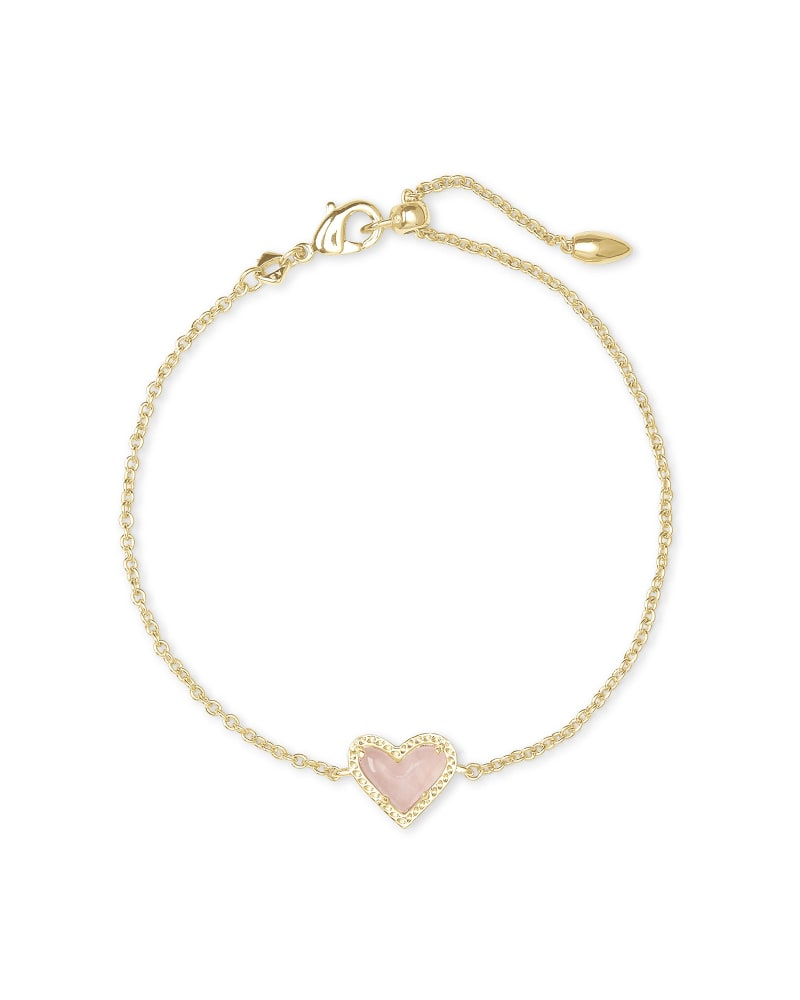 Ari Heart Gold Chain Bracelet in Rose Quartz