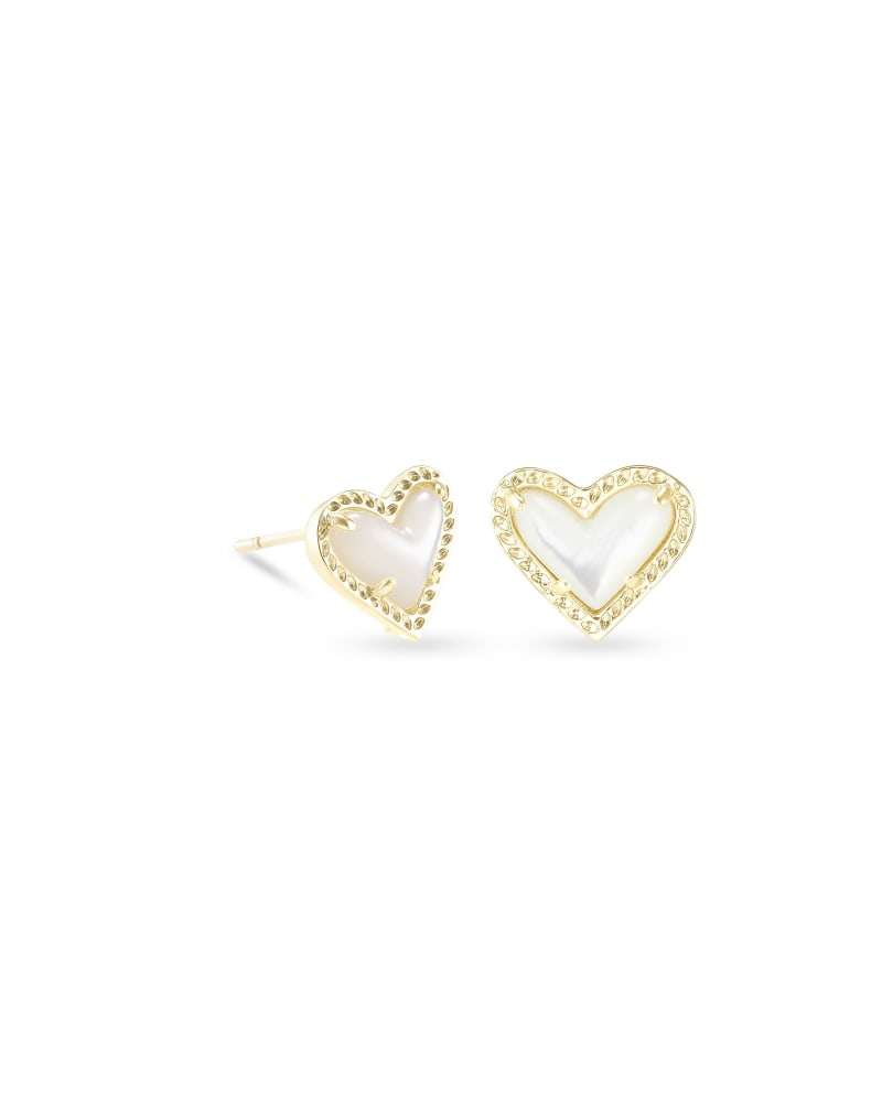 Ari Heart Gold Stud Earrings in Ivory Mother-of-Pearl