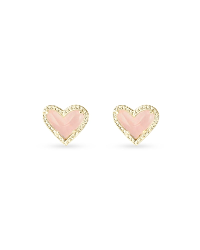 Ari Heart Gold Stud Earrings in Rose Quartz