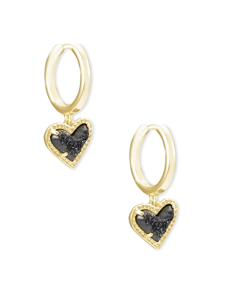 Ari Heart Gold Huggie Earrings in Black Drusy