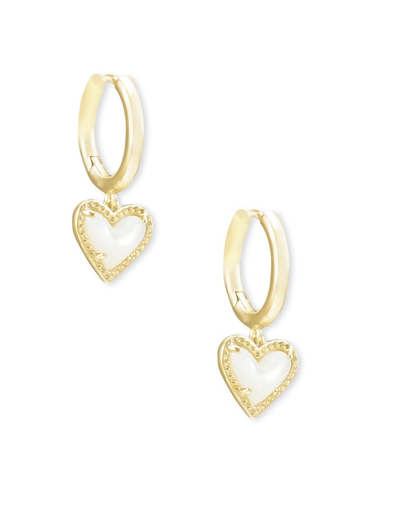 Ari Heart Gold Huggie Earrings in Ivory Mother-of-Pearl