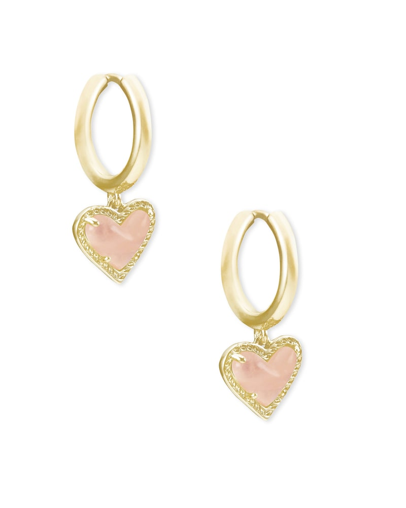 Ari Heart Gold Huggie Earrings in Rose Quartz