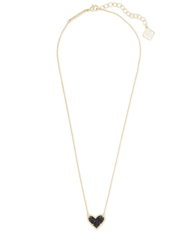 Ari Heart Gold Pendant Necklace in Black Drusy