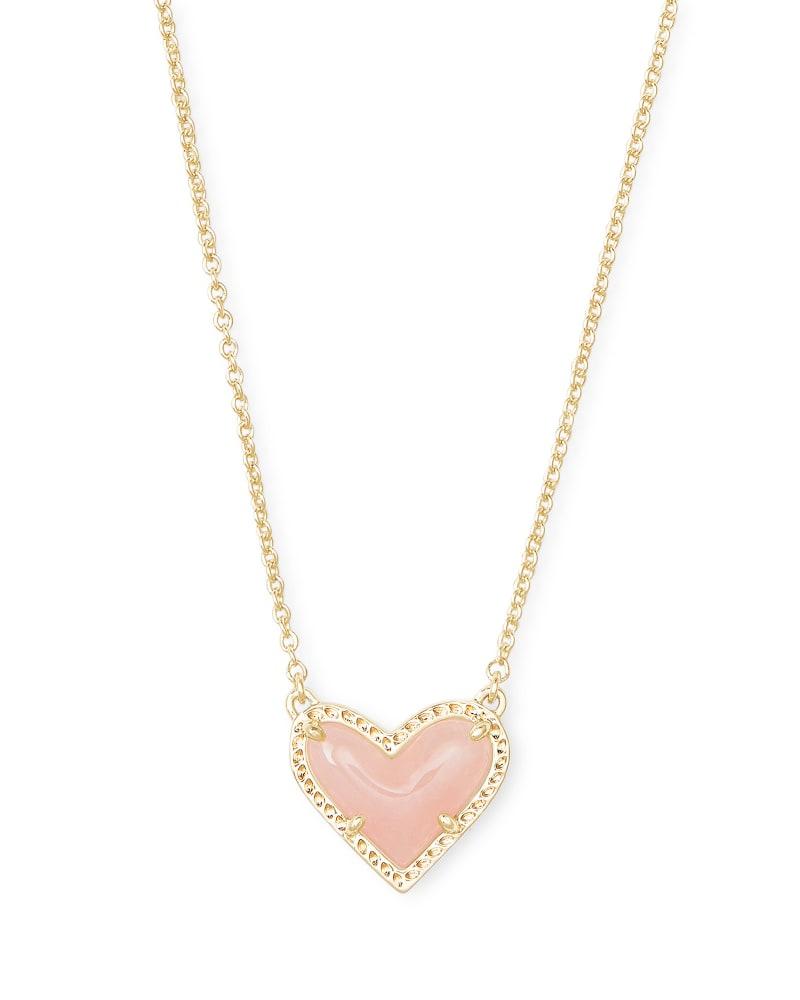 Ari Heart Gold Pendant Necklace in Rose Quartz