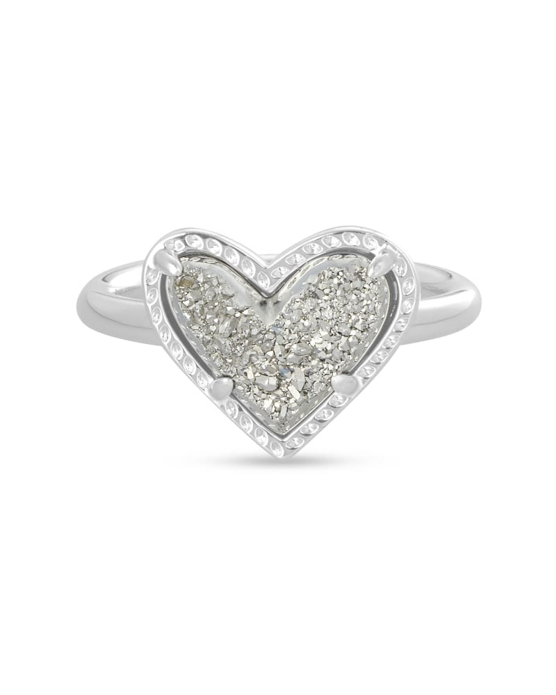 Ari Heart Silver Band Ring in Platinum Drusy