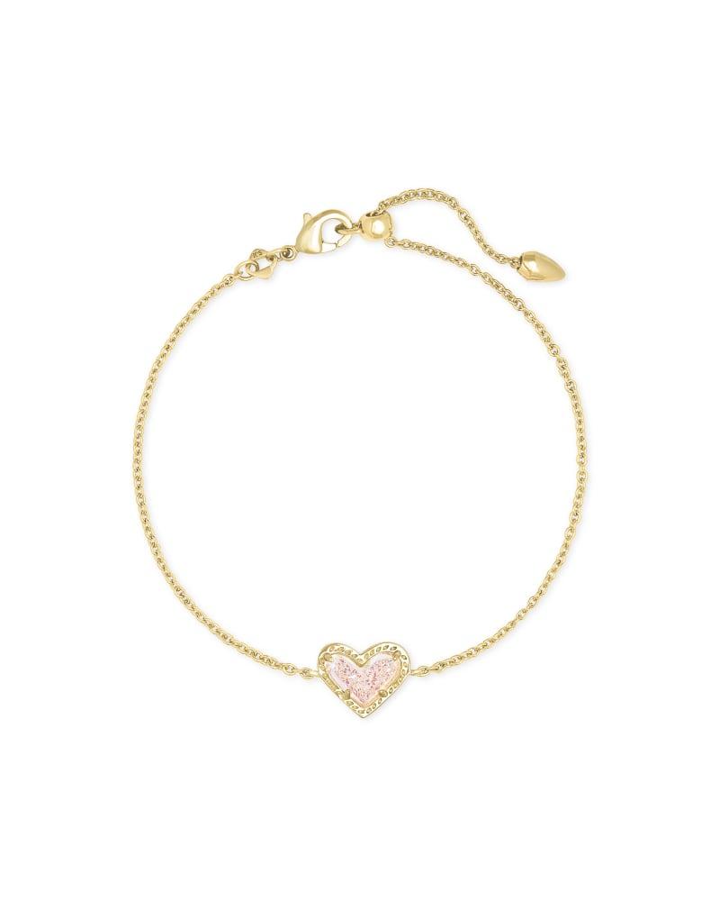 Ari Heart Gold Chain Bracelet in Iridescent Drusy