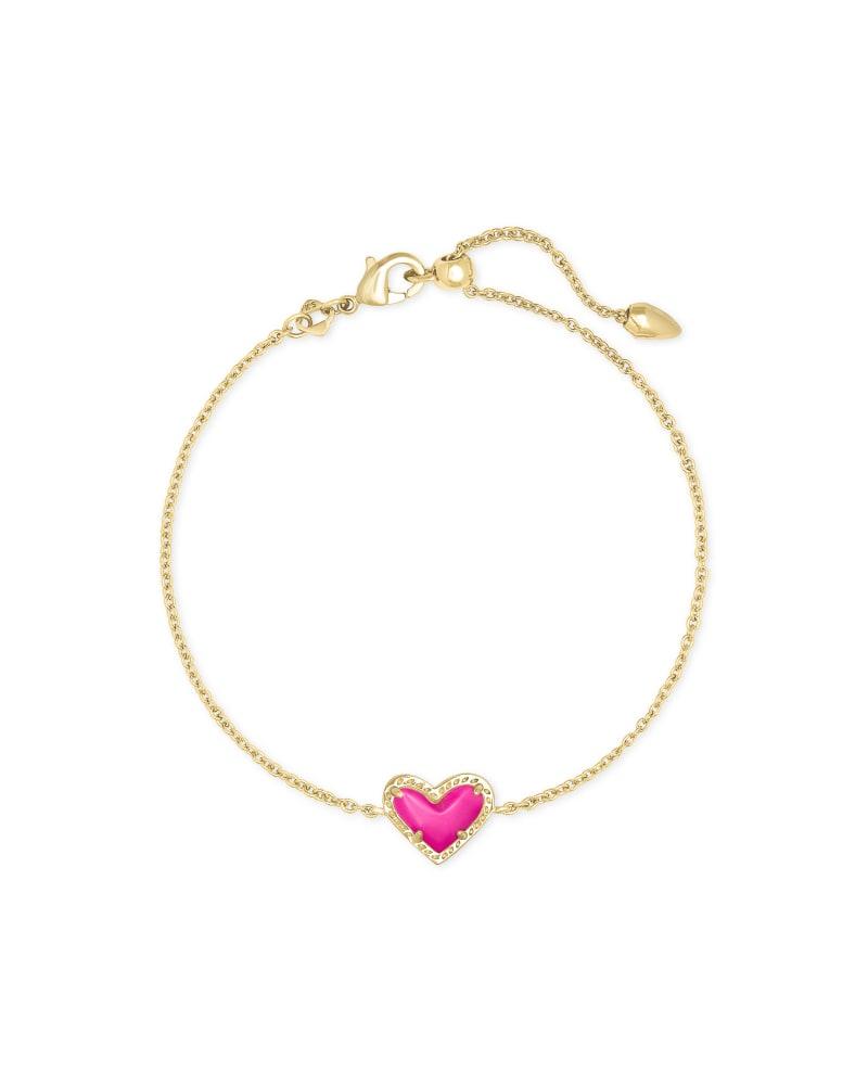 Ari Heart Gold Chain Bracelet in Magenta Magnesite