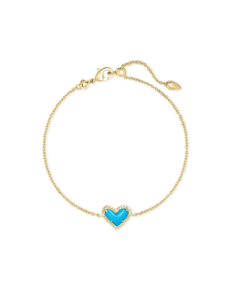 Ari Heart Gold Chain Bracelet in Turquoise Magnesite | Kendra Scott