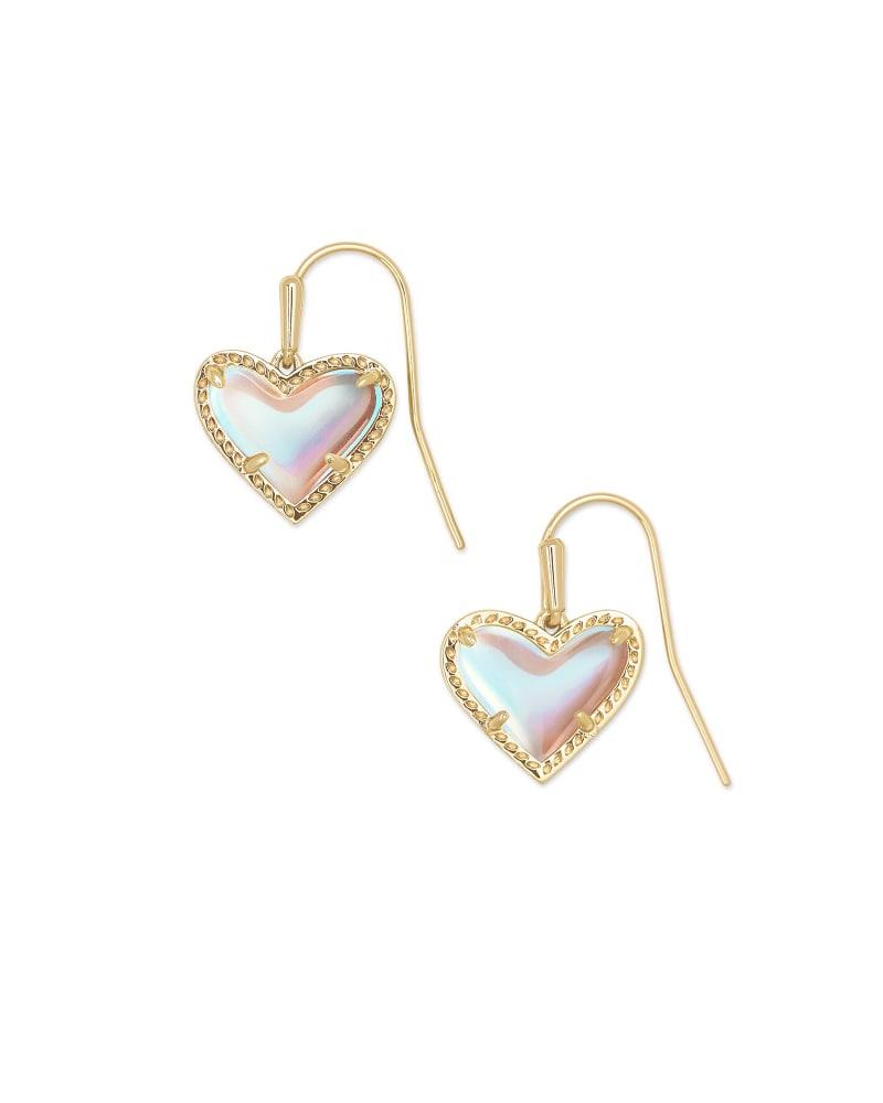 Ari Heart Gold Drop Earrings in Dichroic Glass