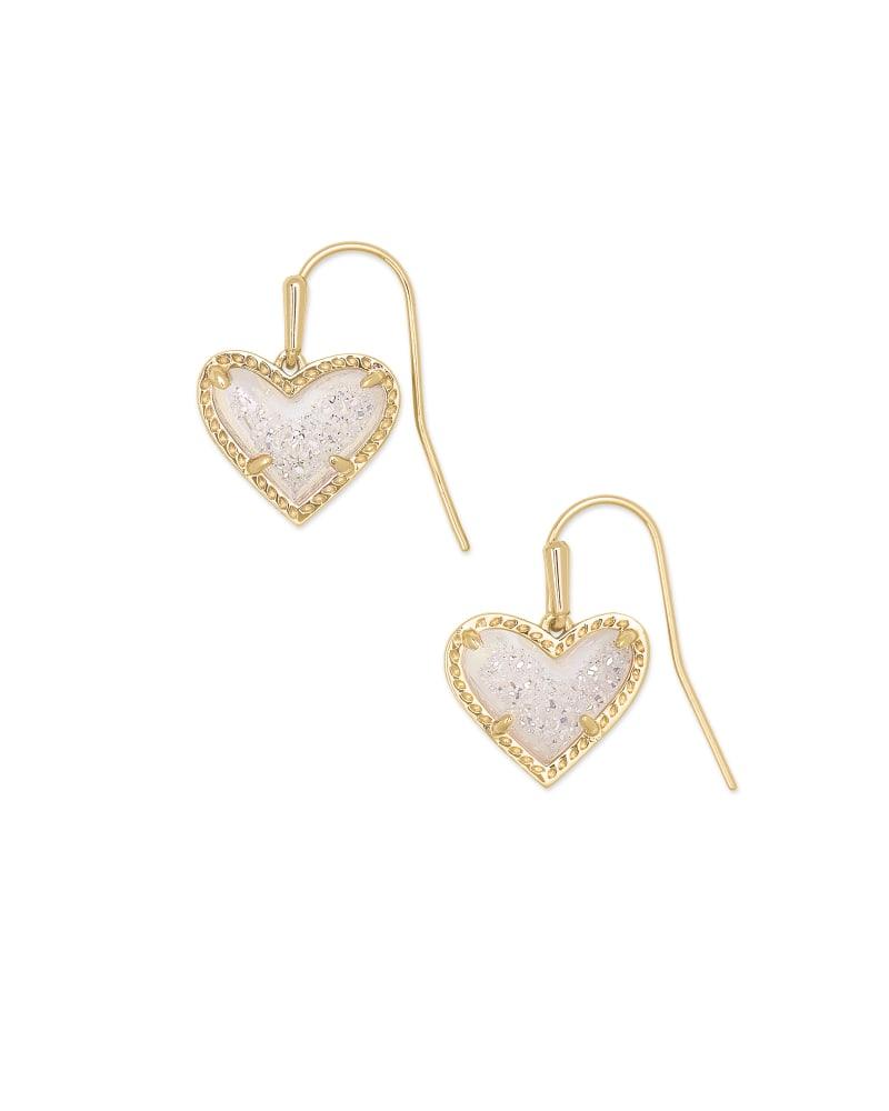 Ari Heart Gold Drop Earrings in Iridescent Drusy