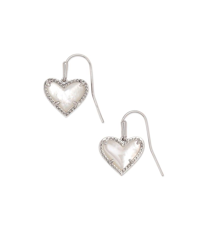 Ari Heart Silver Drop Earrings in Ivory Mother-of-Pearl