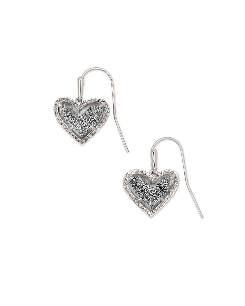 Ari Heart Silver Drop Earrings in Platinum Drusy