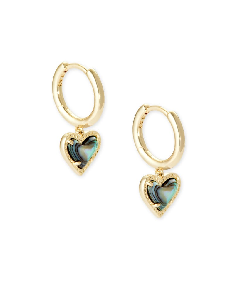 Ari Heart Gold Huggie Earrings in Abalone Shell