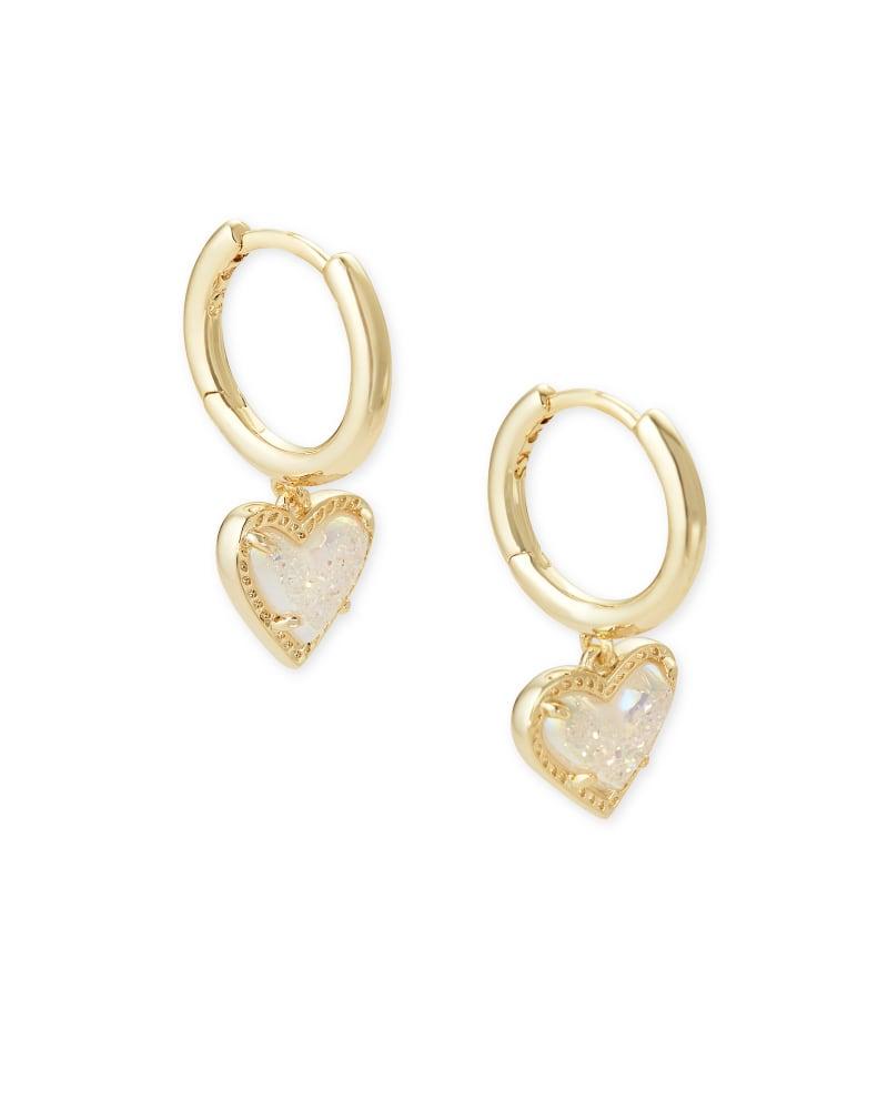Ari Heart Gold Huggie Earrings in Iridescent Drusy