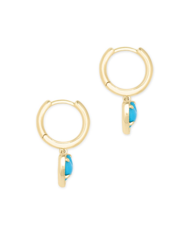 Ari Heart Gold Huggie Earrings in Turquoise Magnesite