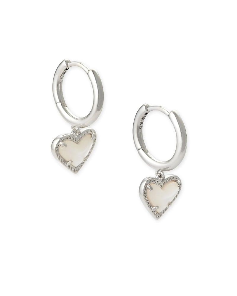 Ari Heart Silver Huggie Earrings in Ivory Mother-of-Pearl