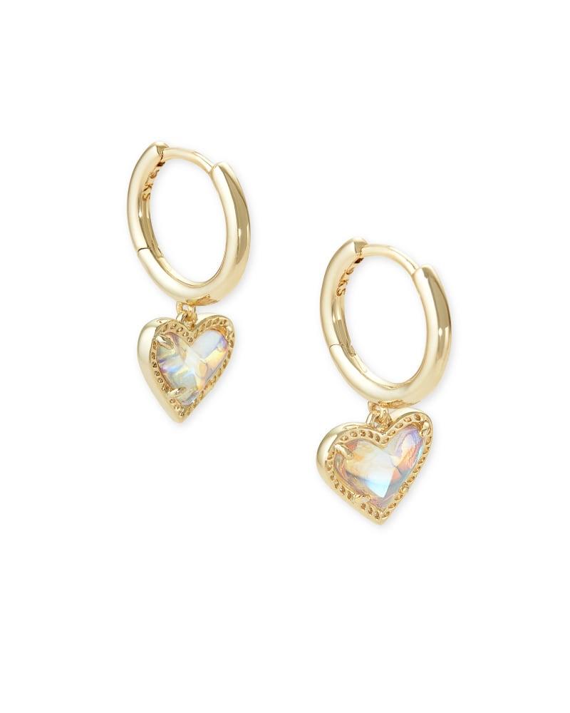 Ari Heart Gold Huggie Earrings in Dichroic Glass