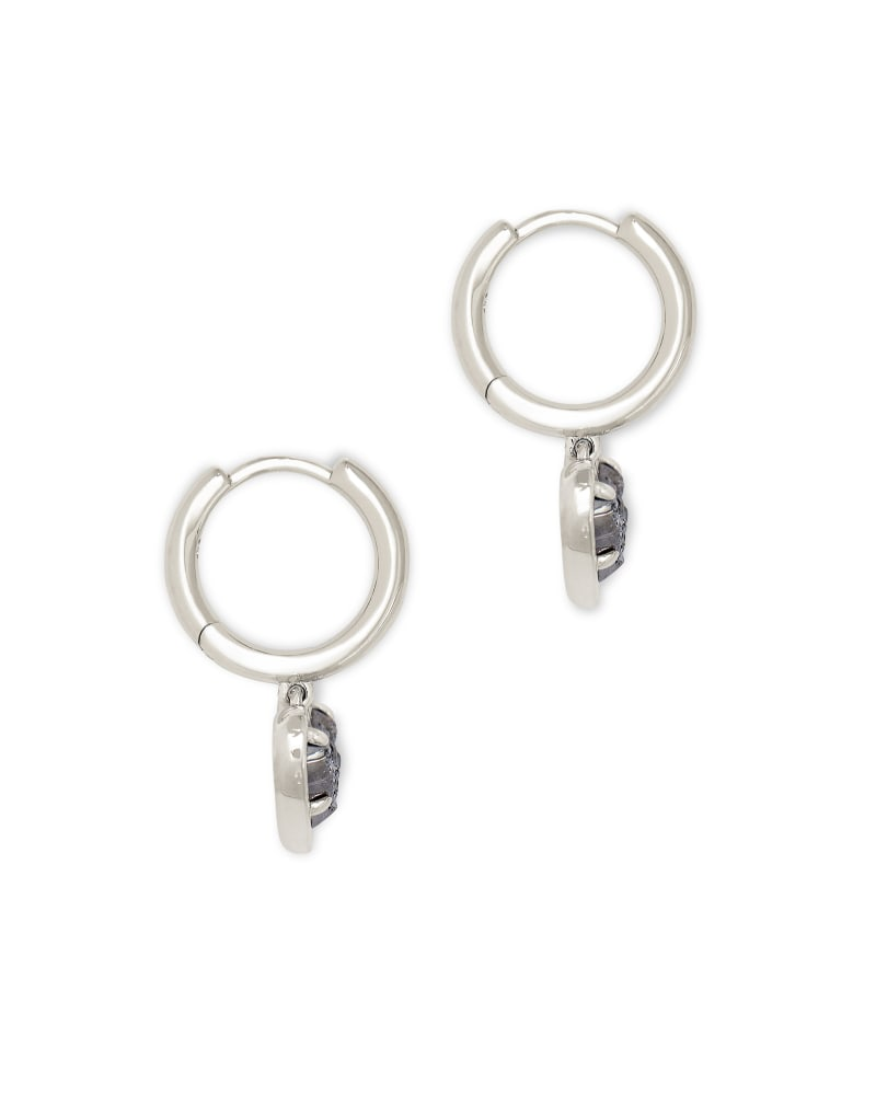 Ari Heart Silver Huggie Earrings in Platinum Drusy