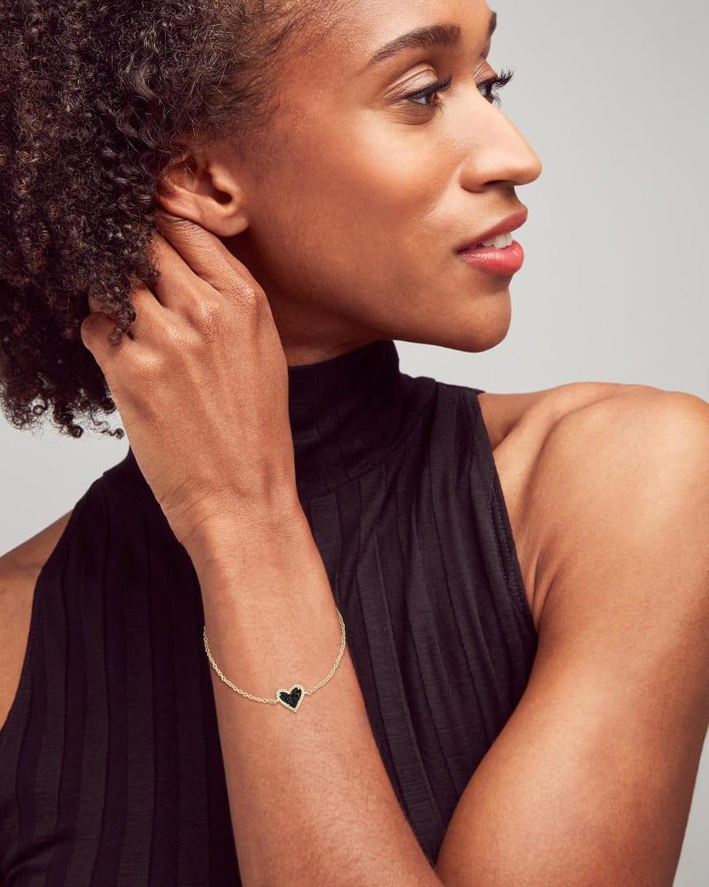 Ari Heart Gold Chain Bracelet in Black Drusy