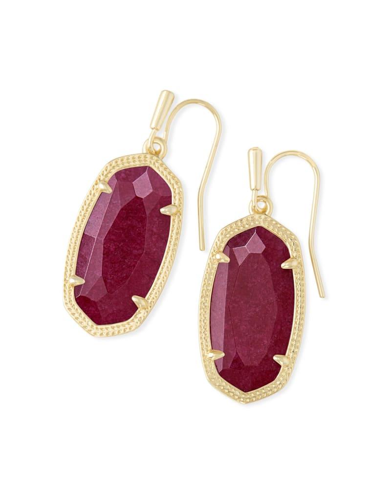 Dani Gold Drop Earrings in Maroon Jade