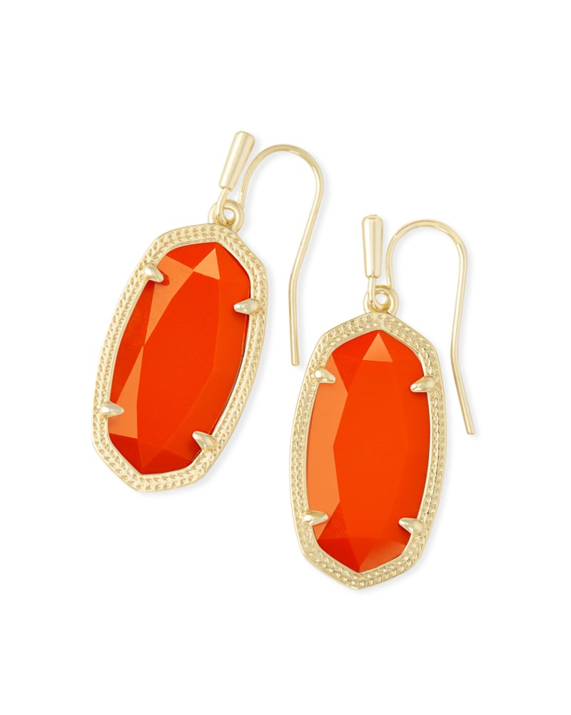 Dani Gold Drop Earrings in Orange Opaque Glass