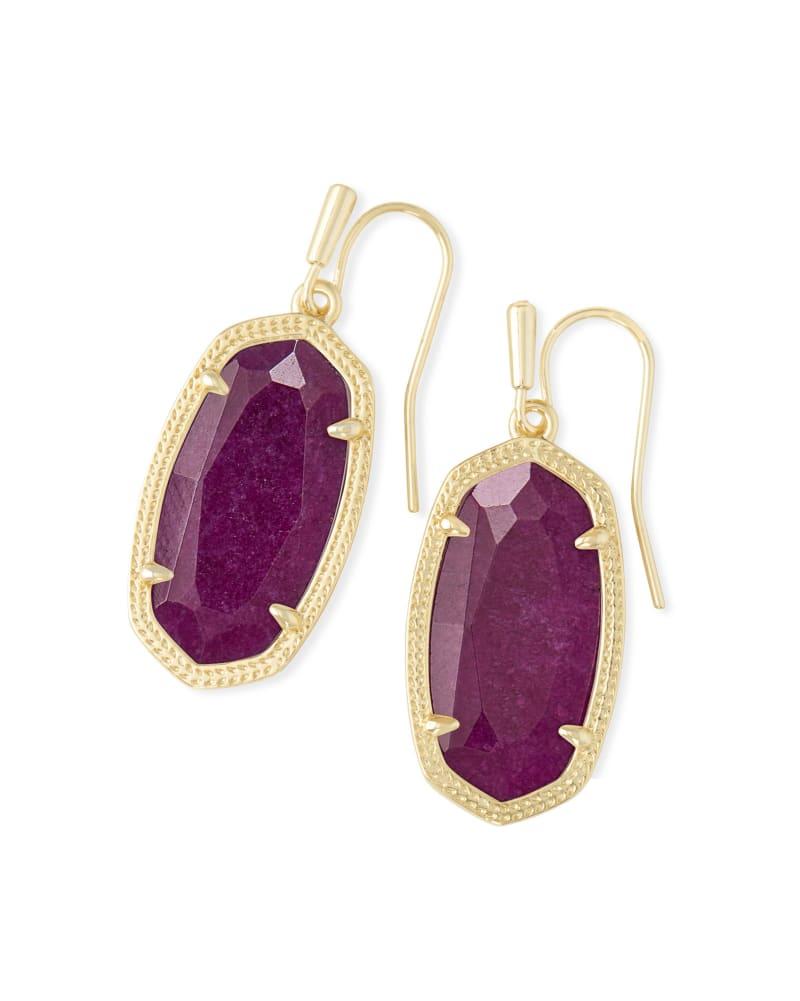 Dani Gold Drop Earrings in Purple Jade