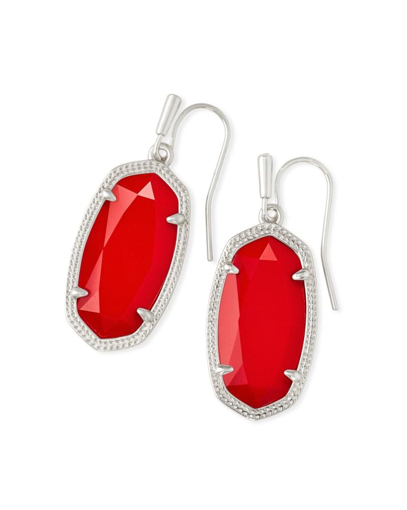 Dani Silver Drop Earrings in Bright Red Opaque Glass