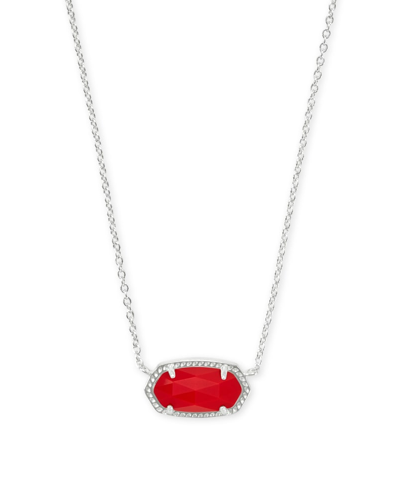Elisa Silver Pendant Necklace in Bright Red Opaque Glass