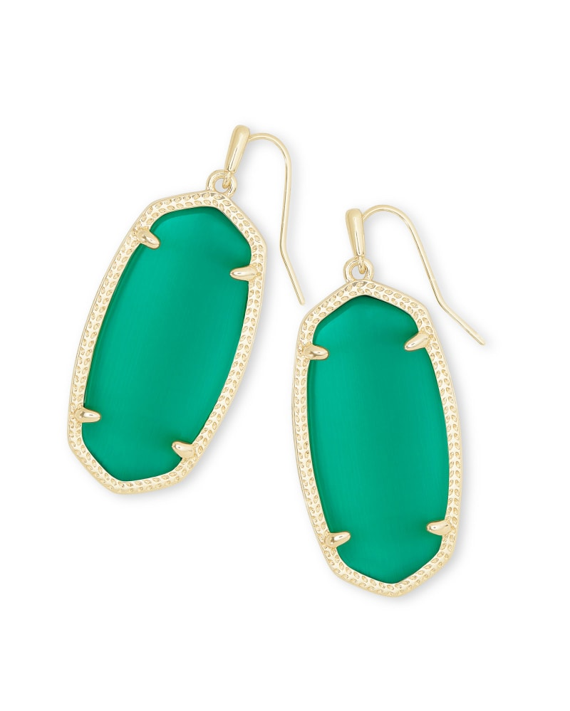 Elle Gold Drop Earrings in Emerald Cat's Eye
