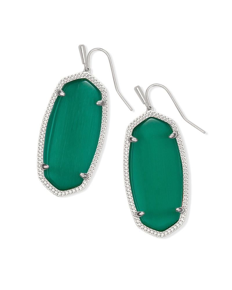 Elle Silver Drop Earrings in Emerald Cat's Eye