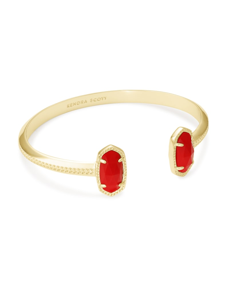 Elton Gold Cuff Bracelet in Bright Red Opaque Glass