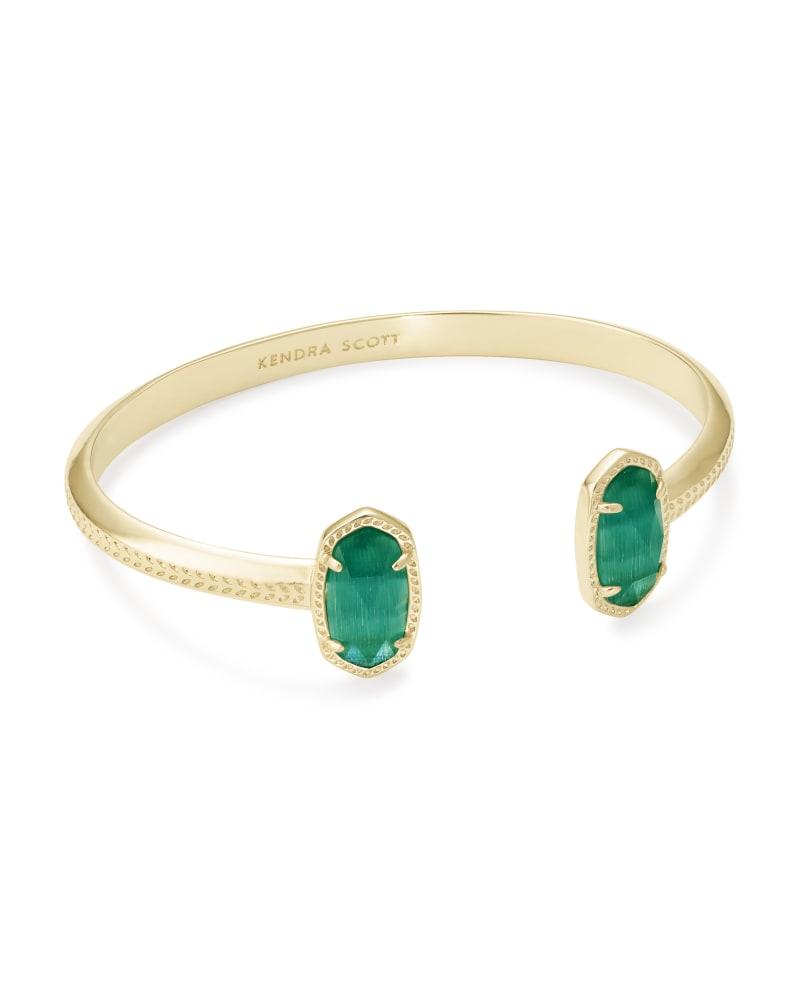 Elton Gold Cuff Bracelet in Emerald Cat's Eye