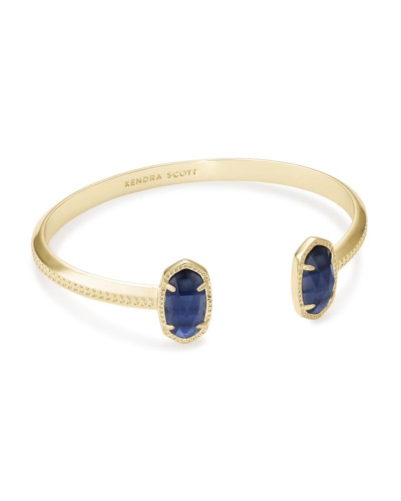 Elton Gold Cuff Bracelet in Navy Cat's Eye