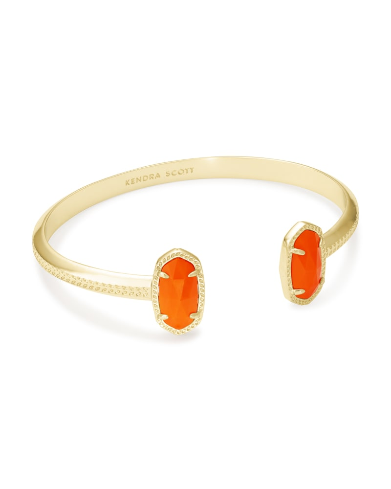 Elton Gold Cuff Bracelet in Orange Opaque Glass