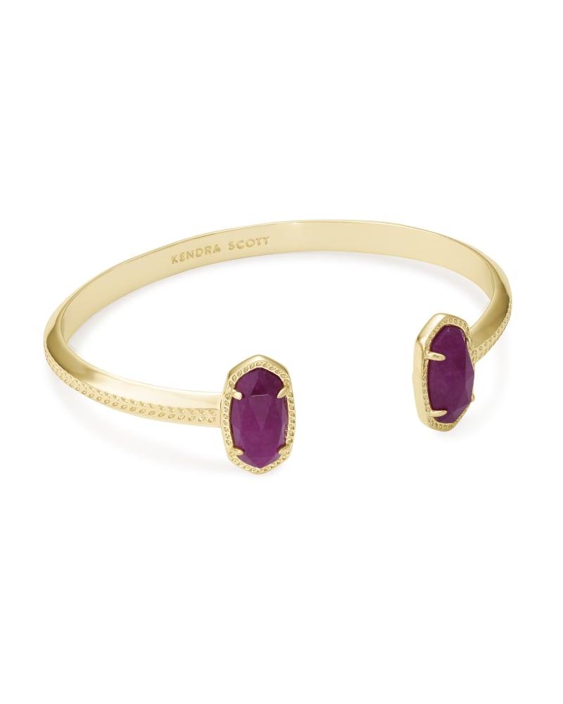 Elton Gold Cuff Bracelet in Purple Jade